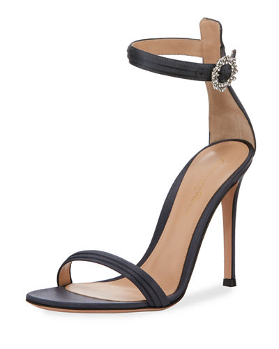 Pleated Satin Embellished 105mm Sandals