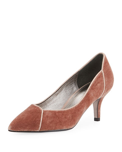 Adrianna Papell Havana Velvet Point-Toe Kitten-Heel Pump
