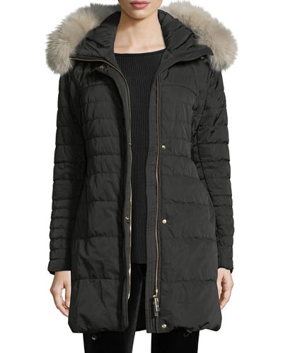Apres-Ski Quilted Jacket w/Fox Trim