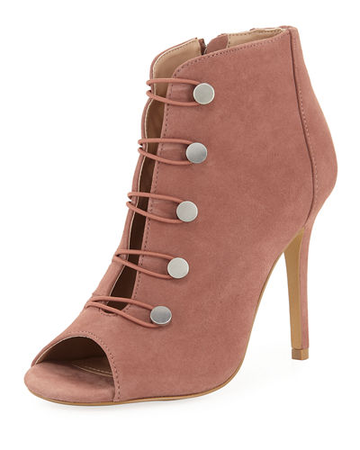 Royalty Open-Toe Button Bootie