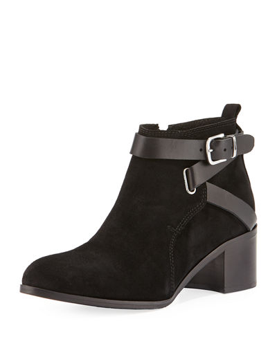 Charles David Gianini Leather-Strap Suede Bootie