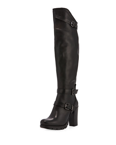 Delaware Leather Knee-High Boot with Buckles