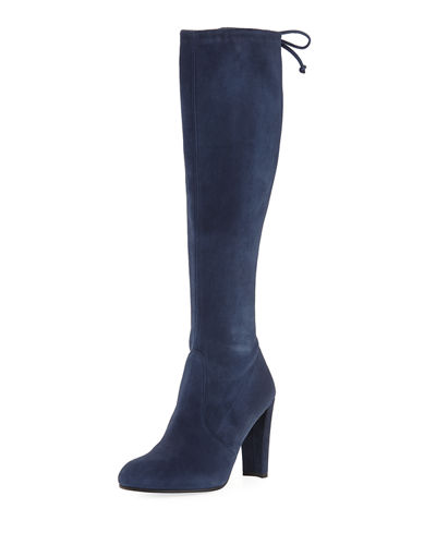 Ardent Back-Tie Stretch Suede Knee Boot