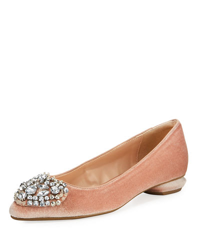 Klass Velvet Pointed-Toe Embellished Flat