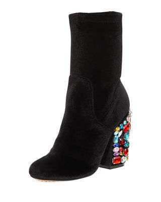 EMBELLISHED FAUX-SUEDE PEARLY-HEEL BOOTIE