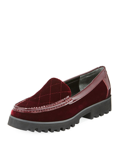 Renee Velvet Lug-Sole Loafer