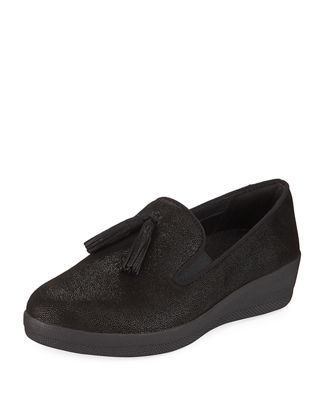 Tasseled Slip-On Skate Shoe in Black Metallic