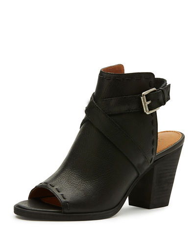 Dani Pickstitched Leather Slingback Bootie