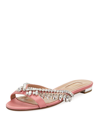 Aquazzura Gem Palace Satin Flat Sandals