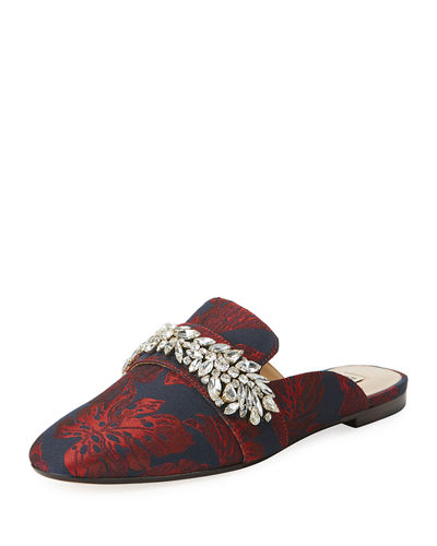 Badgley Mischka Kana Embellished Metallic Mule
