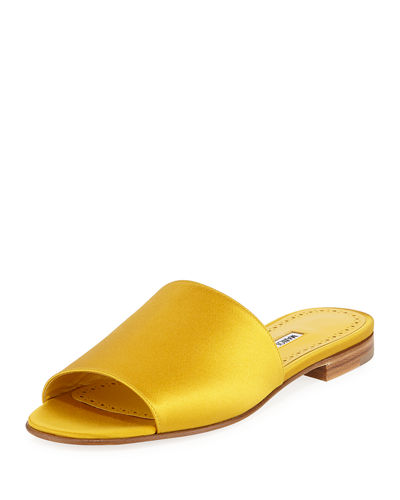 Rapalla Satin Flat Slide Sandals