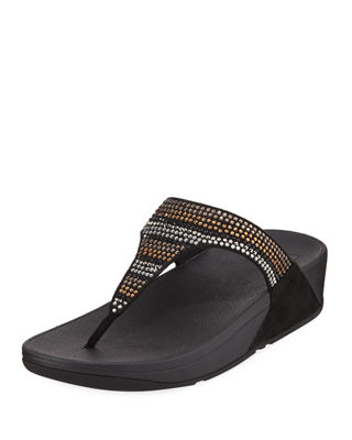 FITFLOP Strobe Luxe Toe-Thong Sandals, Black