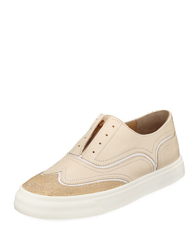 Giuseppe Zanotti Leather Beaded Laceless Wing-Tip Sneaker