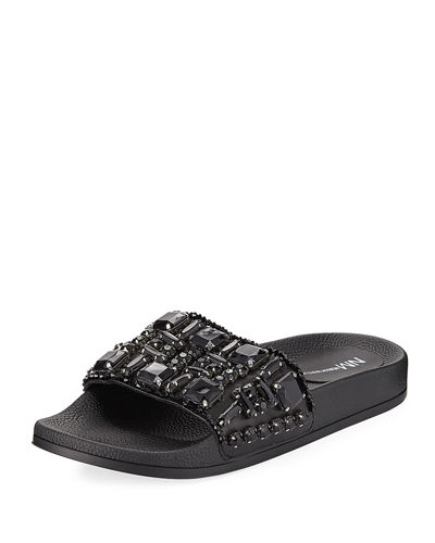 Debut Jeweled Flat Pool Sandal