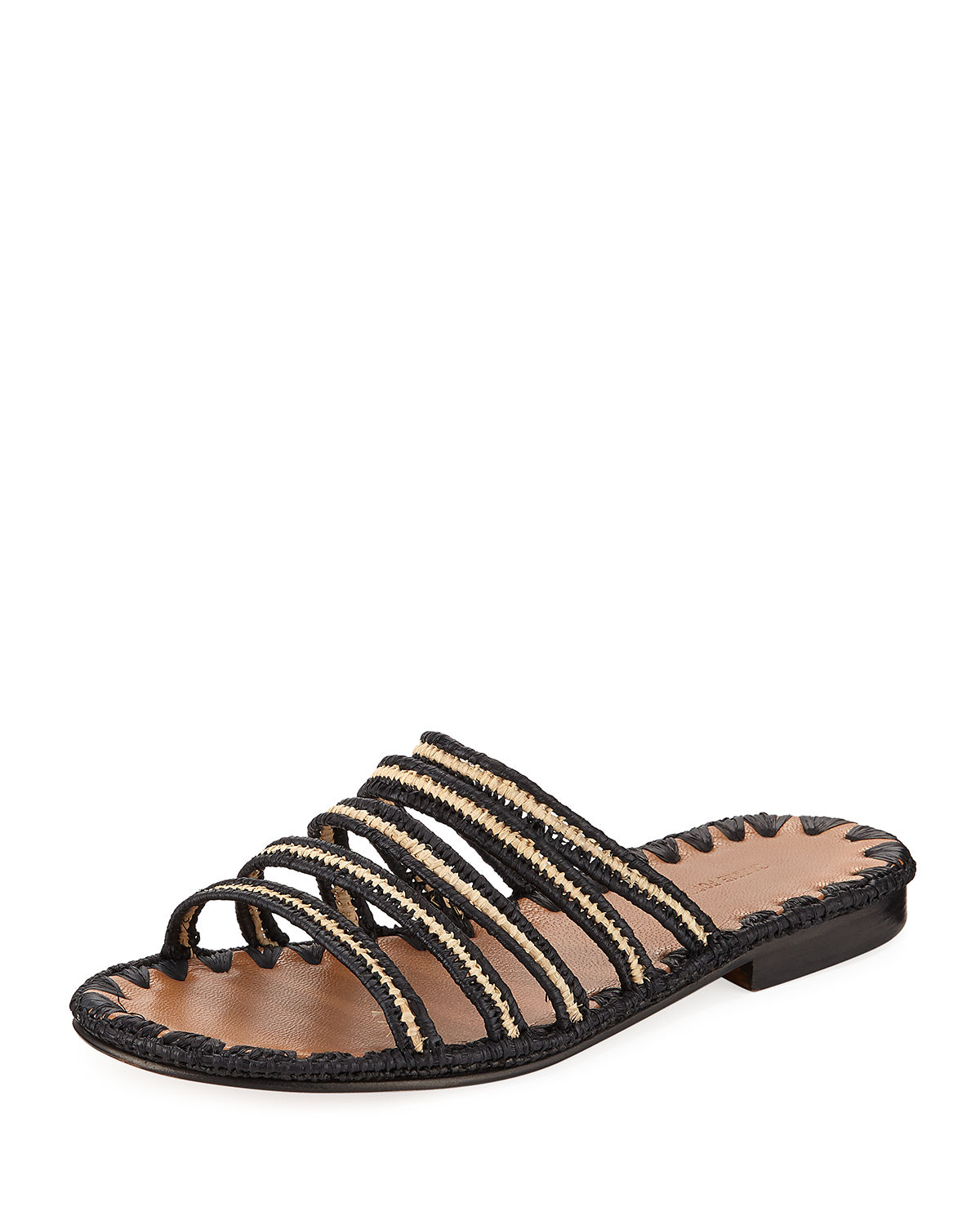 Carrie Forbes Leathers ASMAA WOVEN STRAPPY SLIDE SANDALS