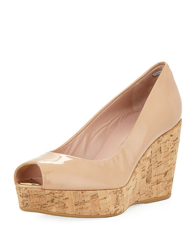 Anna Cork-Wedge Peep-Toe Pump