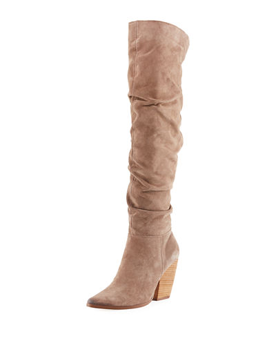 Noelle Scrunched Suede Over-The-Knee Boot