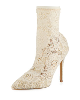 Player Floral Lace Bootie, Ivory