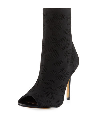 Rebellious Eyelet Stretch Peep-Toe Bootie