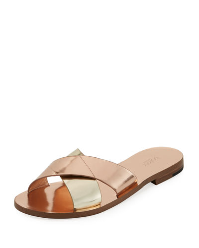 Ally Metallic Crisscross Slide Sandal