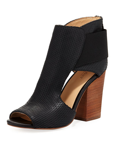 Maddy Cutout Leather Open-Toe Bootie