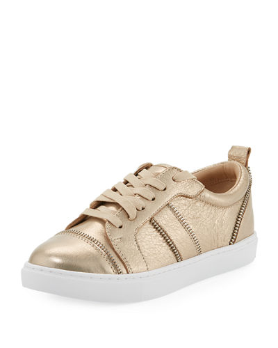 Harvey Zip-Trim Leather Sneaker