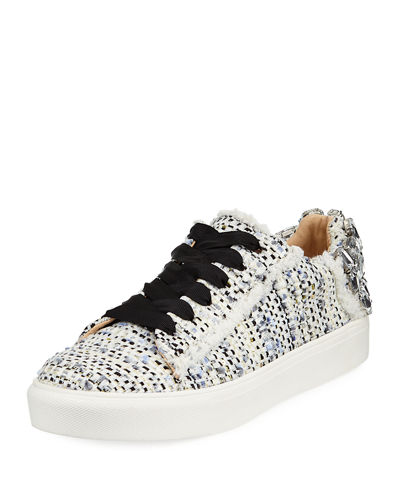 Metallic Tweed Embellished Sneaker
