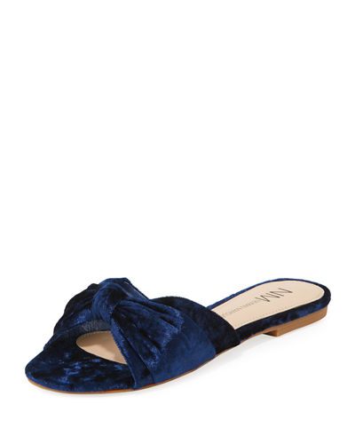 Sail Crushed Velvet Knotted Slide Sandal
