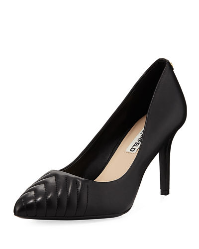 Karl Lagerfeld Paris Roulle Pump with Chevron Trim