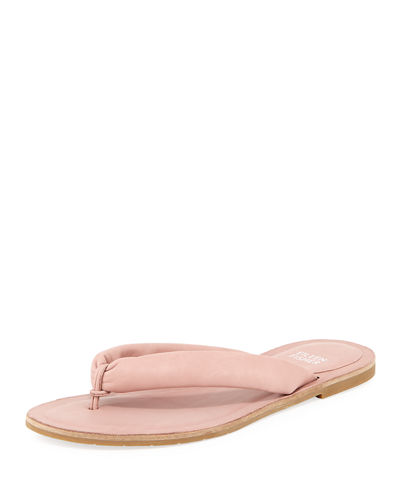 Eileen Fisher Flue Flat Washed Leather Thong Sandals