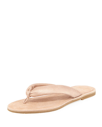 Eileen Fisher Flue Flat Metallic Leather Thong Sandals