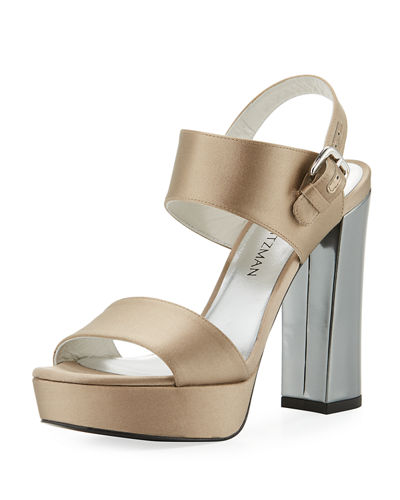 Partisan Satin Block-Heel Sandal