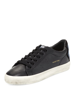 VINTAGE HAVANA Stars Low-Top Distressed Metallic Sneakers in Black