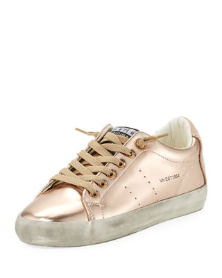 VINTAGE HAVANA Stars Low-Top Distressed Metallic Sneakers in Rose Gold