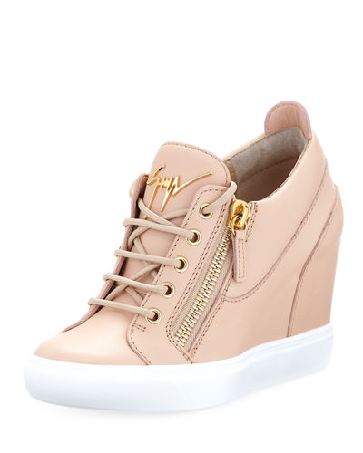 Leather Low-Top Wedge Sneaker