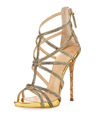 Metallic Spotted High Dressy Sandal