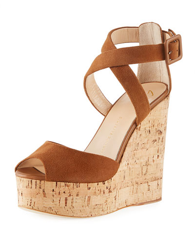 Suede High Platform Wedge Sandal
