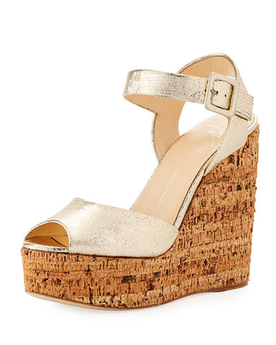 Roz Snake-Embossed Wedge Sandal