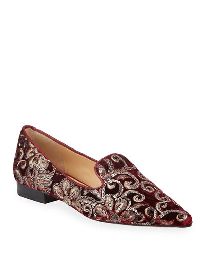 Mary Velvet Loafer with Sequins