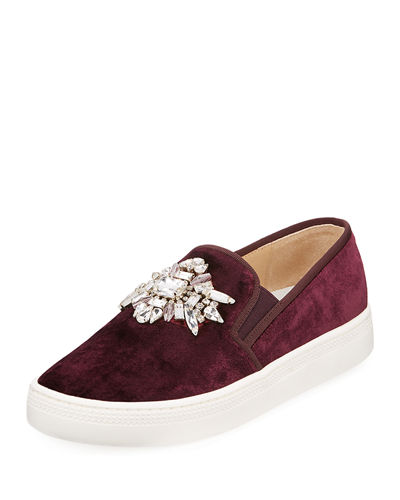 Barre Jeweled Velvet Slip-On Sneakers