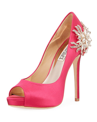 Marcia Embellished Satin Peep-Toe Pump