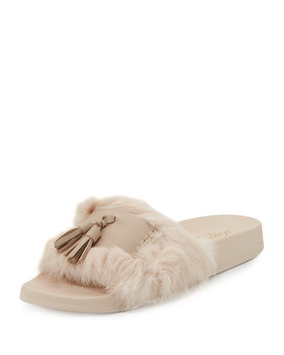 Ice Leather Pool Sandal with Fur Trim