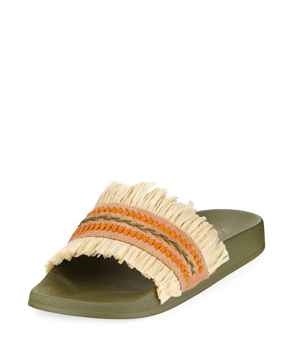 Ivy Leather Pool Slide with Raffia Fringe