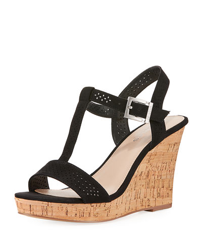 Law Laser-Cut Microsude Wedge Sandal