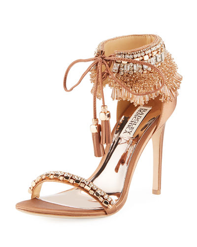 Katrina Beaded Tie-Ankle Sandal