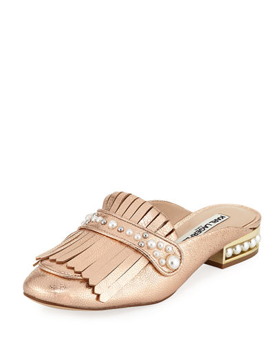 Karl Lagerfeld Paris Becky Metallic Leather Kiltie Mule