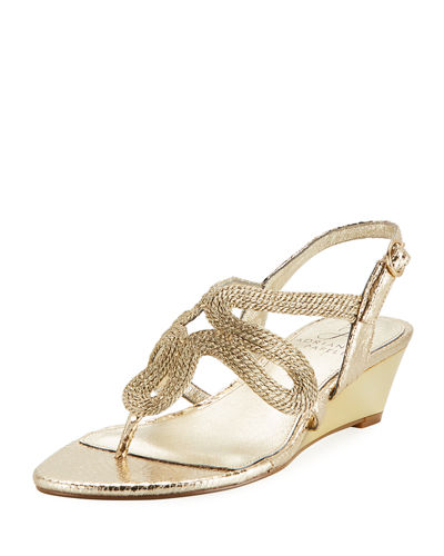Metallic Rope Wedge Sandal