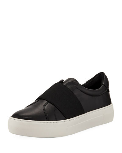 Adorn Leather Sneakers with Stretch Band
