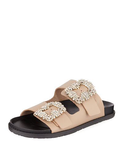 Klip Leather Pool Sandal w/ Crystal Buckles