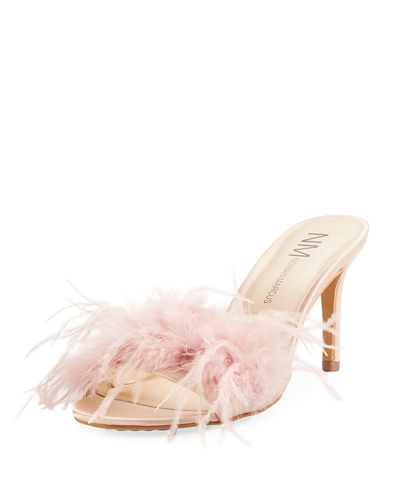 Vanity Slide Feather Mule